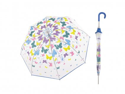 Doppler Transparent Spring dámský průhledný deštník s barevnými motýlky