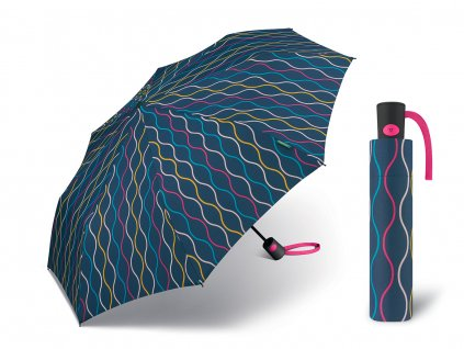 Dámský vystřelovací deštník Benetton Mini AC knitting modrý