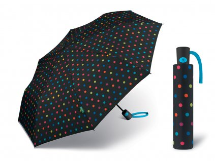 Dámský vystřelovací deštník Benetton Mini AC multidots černý