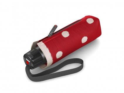 Luxusní červený dámský mini deštník Knirps puntíkovaný