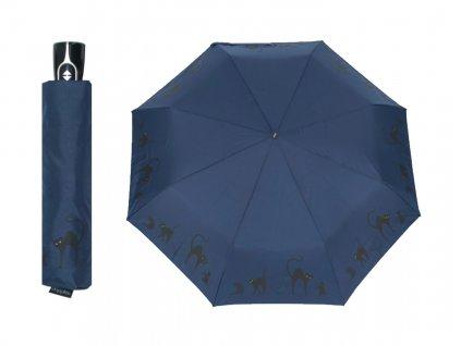 dámský tmavě modrý automatický skládací deštník s kočkou