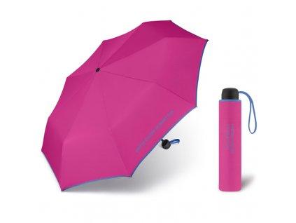 United Colors of Benetton Super Mini Berry - růžový deštník s modrým lemem