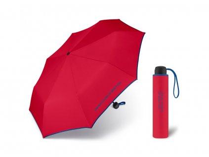 United Colors of Benetton Super Mini Red - červený deštník s modrým lemem