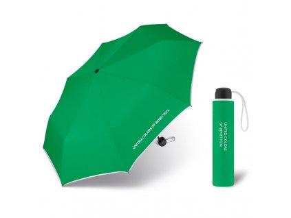United Colors of Benetton Super Mini Green - zelený deštník s bílým lemem
