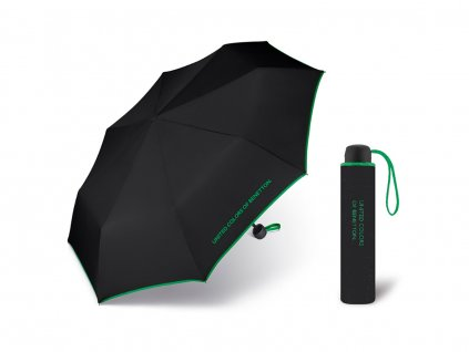 United Colors of Benetton Super Mini Black - černý deštník se zeleným lemem