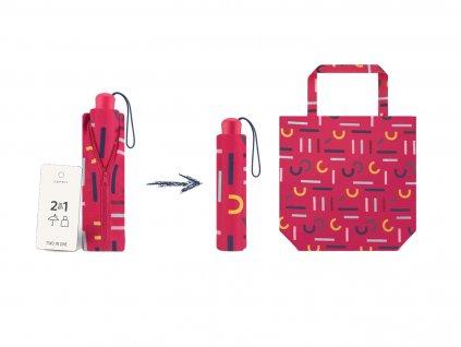 ESPRIT Letterjam skládací mini deštník s taškou červený s barevnými písmeny