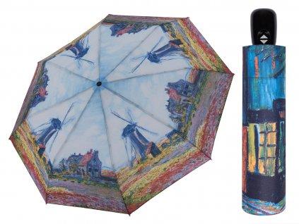Luxusní dámský deštník z Art kolekce Doppler Monet Větrné mlýny