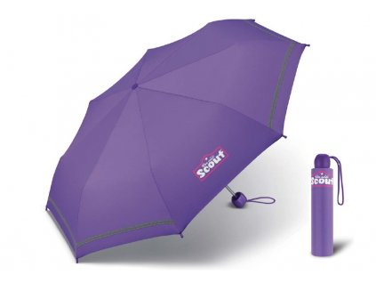 Scout BASIC LILAC dívčí skládací deštník s reflexním proužkemLilac