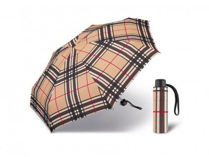Happy Rain Petito Checks Camel dámský skládací mini deštník