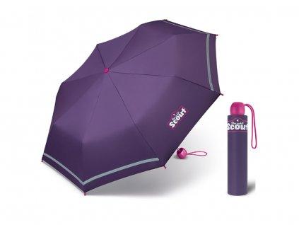 Scout DARK LILAC dívčí skládací deštník s reflexním proužkem