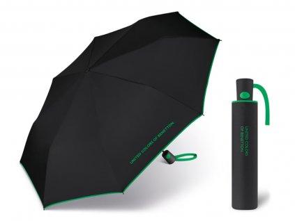 Dámský vystřelovací deštník Benetton AC černý se zeleným lemem