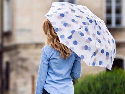Luxusní dámský deštník s velkými puntíky