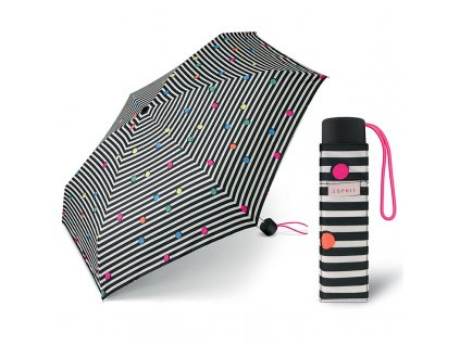 ESPRIT Petito Dots & Stripes černý dámský mini deštník