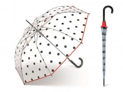 Dámský průhledný deštník Happy Rain s černými puntíky a červeným lemem