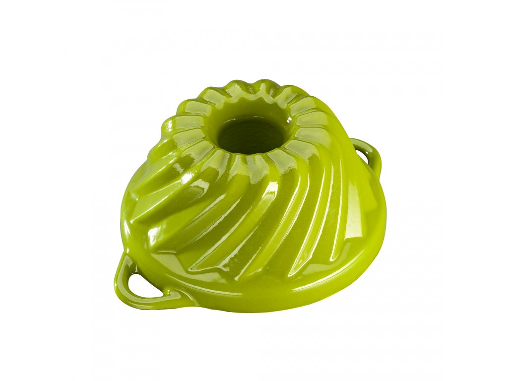 Litinová smaltovaná pečicí forma Malá bábovka Český smalt GOURMETINA - Trávníkově zelená 20,3 x 9,5 cm