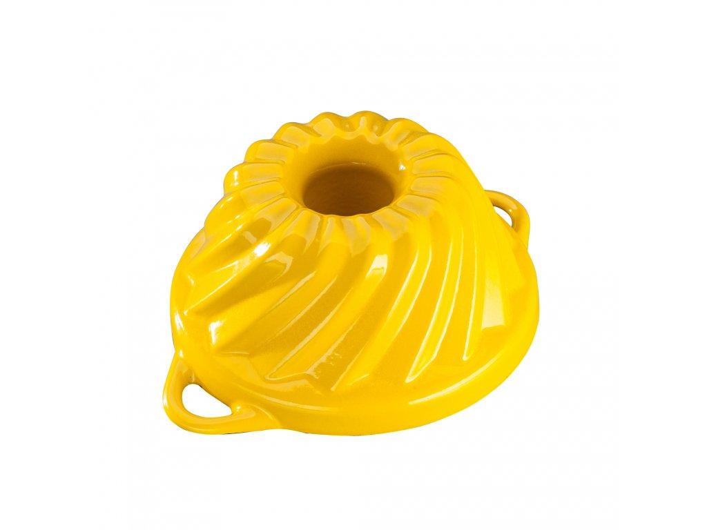 Litinová smaltovaná pečicí forma Malá bábovka Český smalt GOURMETINA - Řepkově žlutá 20,3 x 9,5 cm