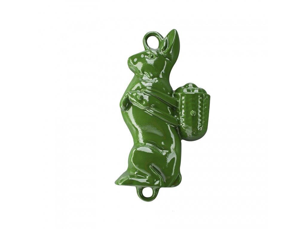 Litinová smaltovaná pečicí forma Český smalt GOURMETINA Zajíc - Listově zelená 37 x 21 x 8,5 cm