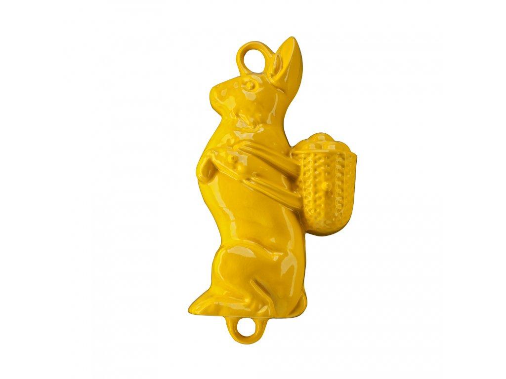 Litinová smaltovaná pečicí forma Český smalt GOURMETINA Zajíc - Řepkově žlutá 37 x 21 x 8,5 cm