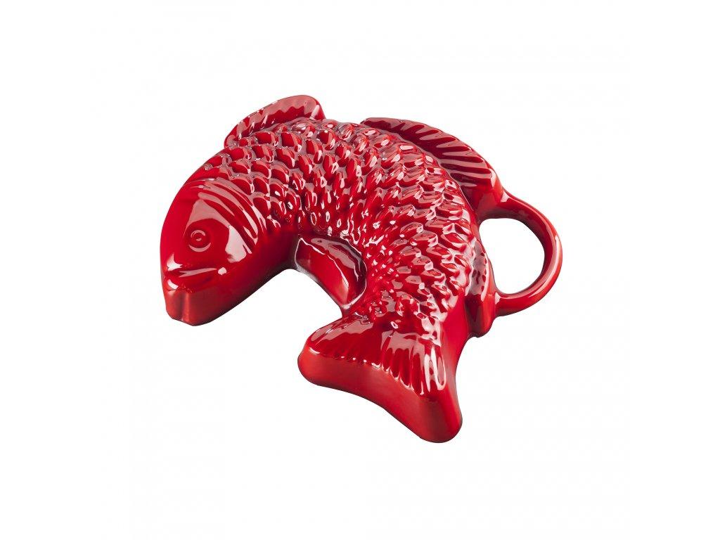Litinová smaltovaná pečicí forma Český smalt GOURMETINA Ryba - Stínově červená 23 x 18 x 5 cm