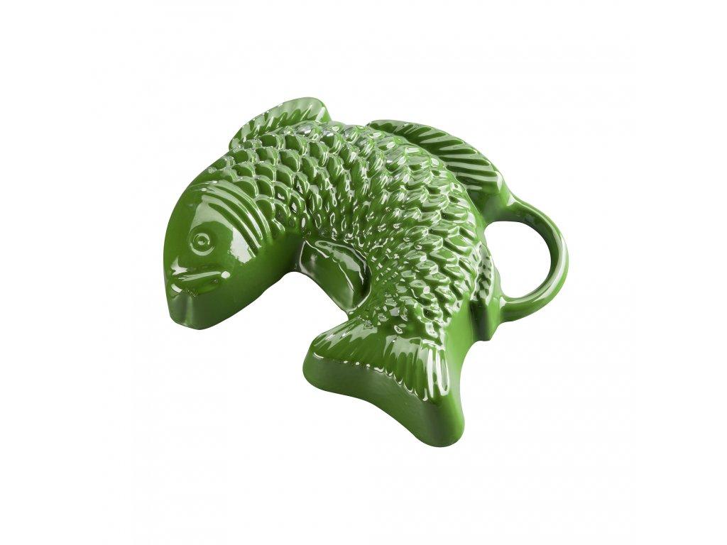 Litinová smaltovaná pečicí forma Český smalt GOURMETINA Ryba - Listově zelená 23 x 18 x 5 cm