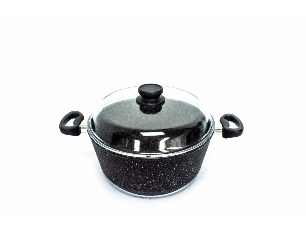 Polévkový hrnec velký PROTITAN linie GRANIT - černý, neindukční, 6 litrů