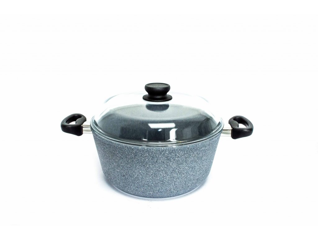 Velký hrnec na polévku PROTITAN linie Granit, šedý, neindukční, 28 x 13 cm, 6 l