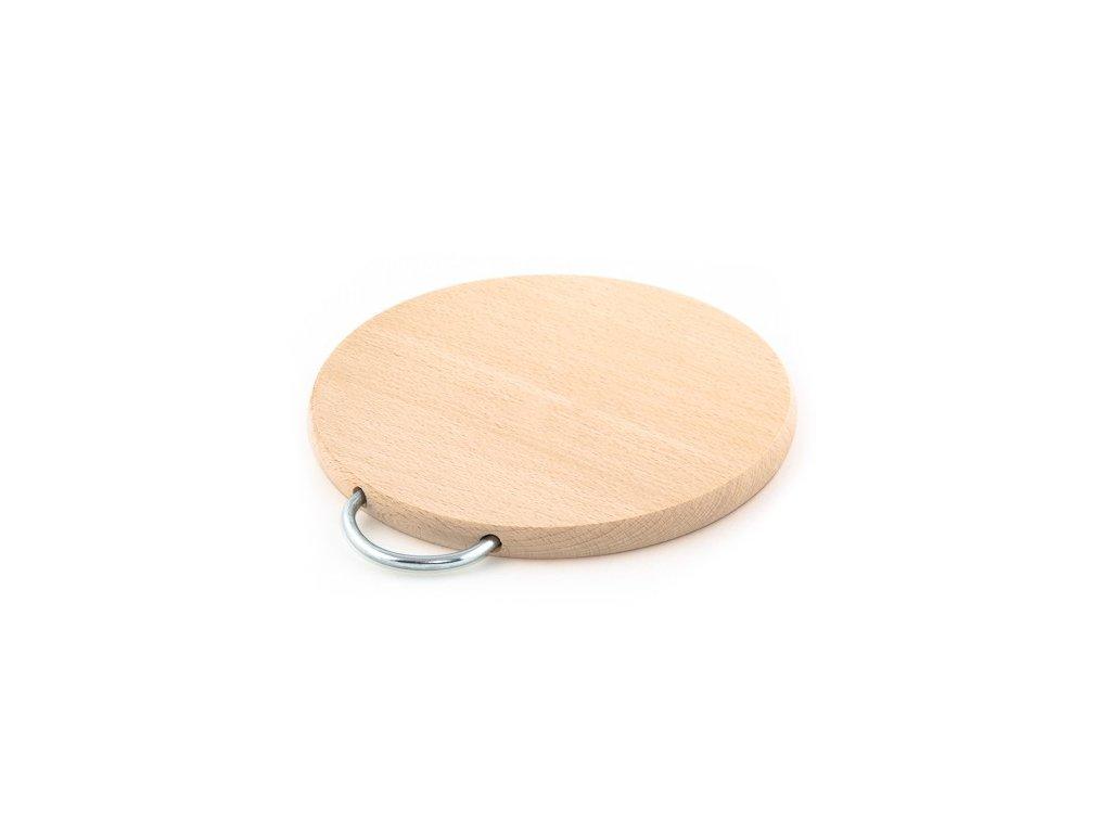 Dřevěné uchyňské prkénko KOLIMAX - kulaté s držadlem, 21,5 x 1,6 cm