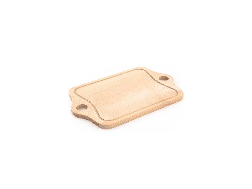Dřevěné kuchyňské prkénko KOLIMAX - hranaté s otvory na uchopení, 38,5 x 18 x 1,6 cm