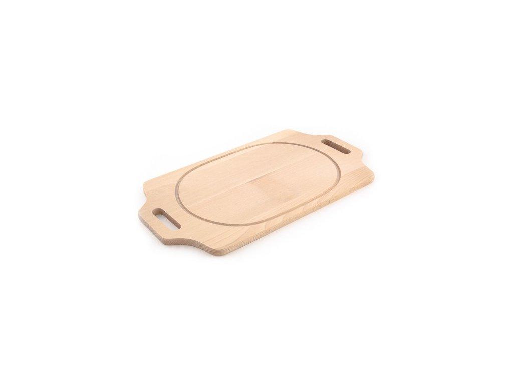 Dřevěné kuchyňské prkénko KOLIMAX - hranaté s úchopy po stranách, 50 x 22 x 1,6 cm