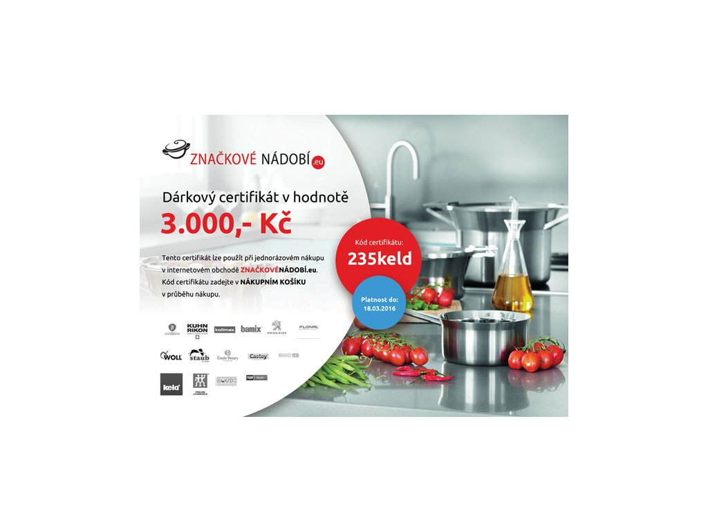 Dárkový certifikát v hodnotě 3000 Kč