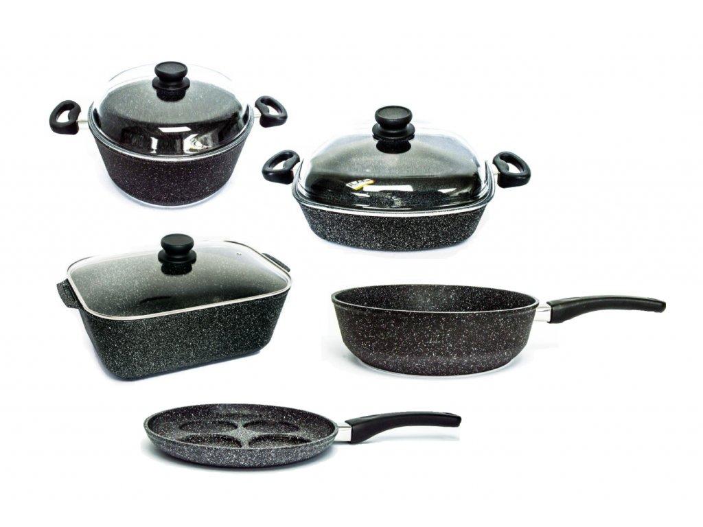 Sada nádobí pro velkou rodinu PROTITAN linie Granit, černá, indukční, 8 ks