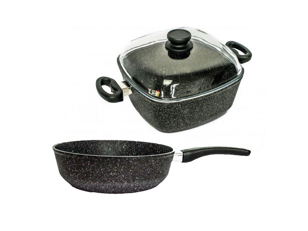 Malá sada nádobí PROTITAN linie Granit, černá, neindukční, 3 ks