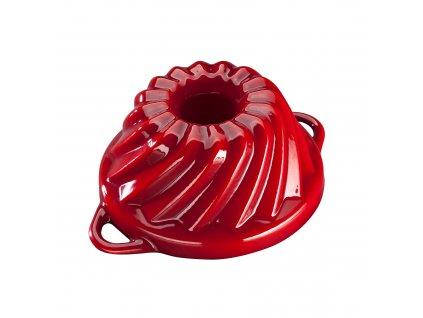 Litinová smaltovaná pečicí forma Malá bábovka Český smalt GOURMETINA - Stínově červená 20,3 x 9,5 cm