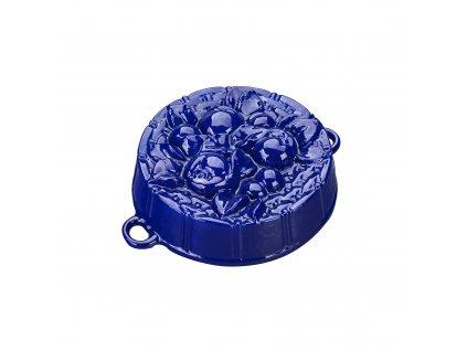 Litinová smaltovaná pečicí forma Český smalt GOURMETINA Jablíčka - Noční modrá 25 x 8 cm
