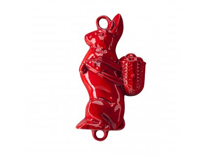 Litinová smaltovaná pečicí forma Český smalt GOURMETINA Zajíc - Stínově červená 37 x 21 x 8,5 cm