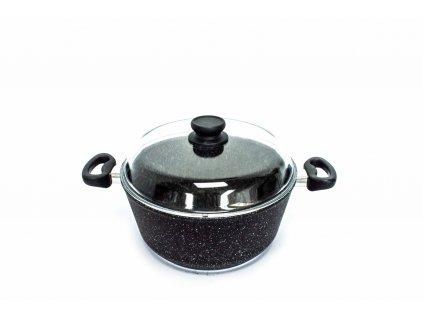 Velký hrnec na polévku PROTITAN linie Granit, černý, neindukční, 28 x 13 cm, 6 l