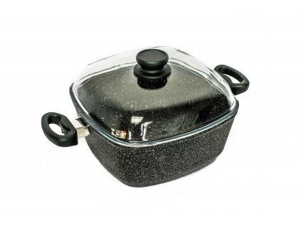 Zapékací hrnec PROTITAN linie GRANIT - černý, indukční,  5.1 litru 26x26x11 cm