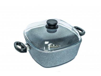 Zapékací hrnec PROTITAN linie GRANIT - šedý, indukční,  5.1 litru 26x26x11 cm