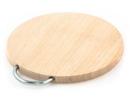 Dřevěné kuchyňské prkénko KOLIMAX kulaté s kovovým držadlem, 20 x 1,6 cm