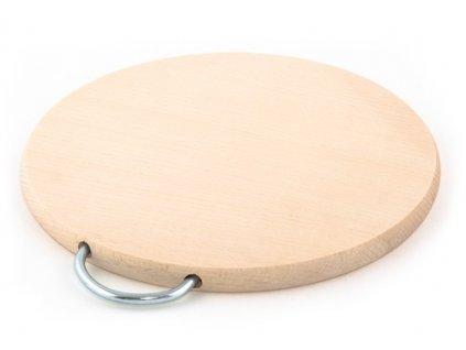 Dřevěné kuchyňské prkénko KOLIMAX - kulaté s kovovým držadlem, 24,5 x 1,6 cm