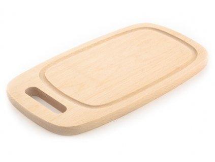 Dřevěné kuchyňské prkénko KOLIMAX - hranaté s výřezem na uchopení, 33 x 18 x 1,6 cm