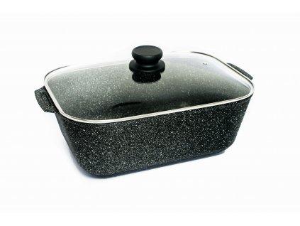 Pekáč na kačenu se skleněným víkem PROTITAN linie Granit, černý, neindukční, 25 x 35 x 13 cm
