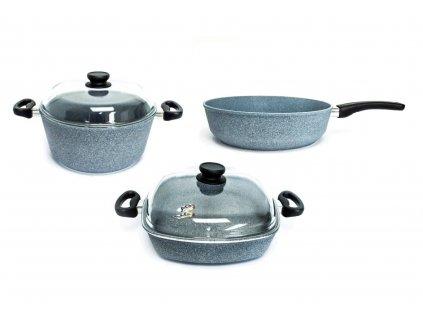 Sada nádobí pro menší rodinu PROTITAN linie Granit, šedá, neindukční, 5 ks