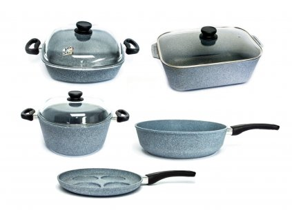 Sada nádobí pro velkou rodinu PROTITAN linie Granit, šedá, neindukční, 8 ks