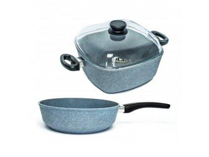 Malá sada nádobí PROTITAN linie Granit, šedá, neindukční, 3 ks