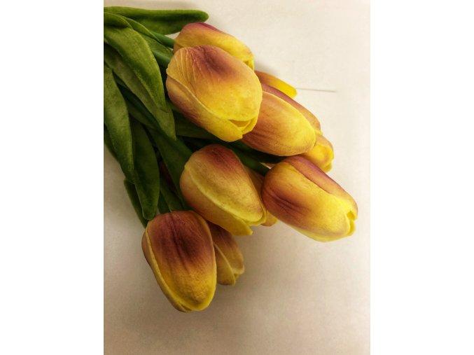 Umělý tulipán pěnový barva žluto-růžová