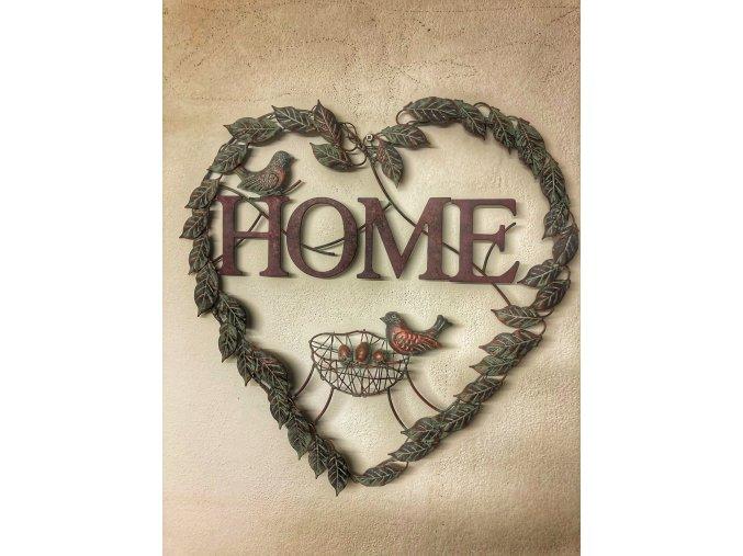 Kovové srdce na zeď HOME