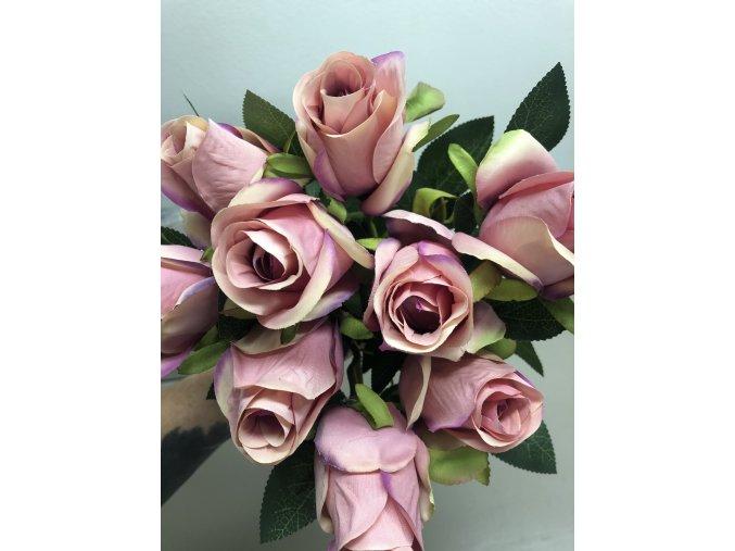 Růže umělá, růžovo-lila