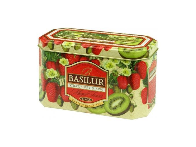 33476 basilur magic fruit strawberry kiwi cerny caj jahoda kiwi plech 20x2g