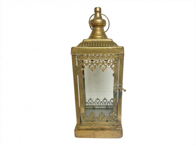 zlatá kovová lucerna z naší kredence